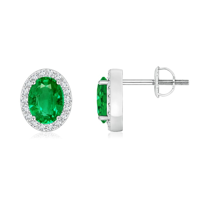 Angara Halo Emerald and Diamond Stud Earrings XVfW5Ctsn