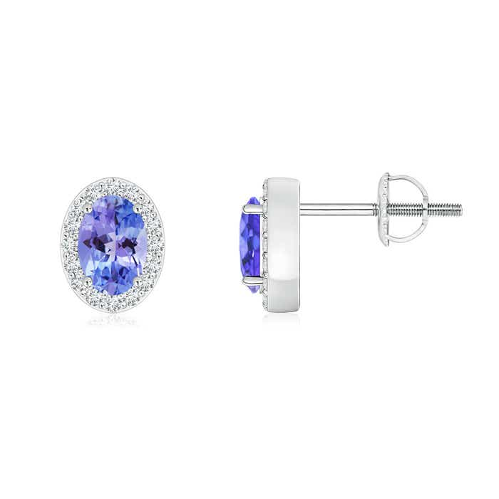 Angara Square Tanzanite and Diamond Halo Earrings in Platinum 2cQrR