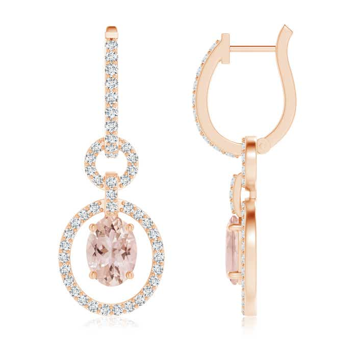 Angara Oval Morganite Dangle Earrings with Diamond Halo bMdOdbqyx