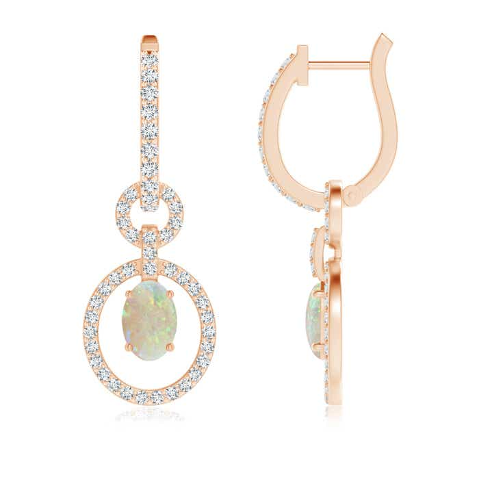 Angara Oval Opal Dangle Earrings with Diamond HSTgFWt4kE