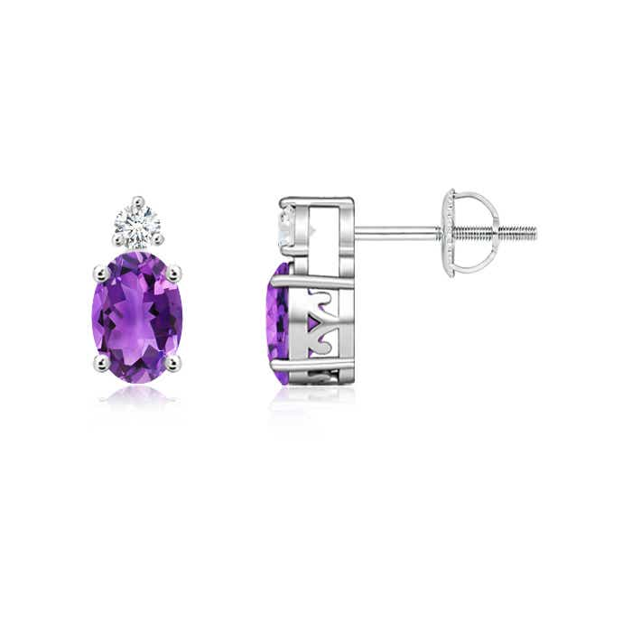 Angara Oval Amethyst Prong Set Diamond Studs Yellow Gold