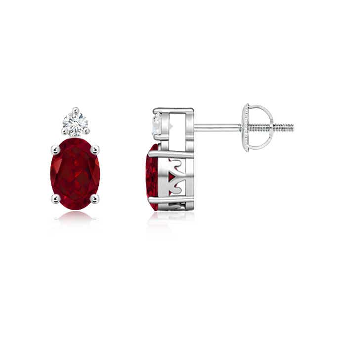 Angara Basket-Set Round Garnet Stud Earrings with Diamond in Platinum Vza1Q