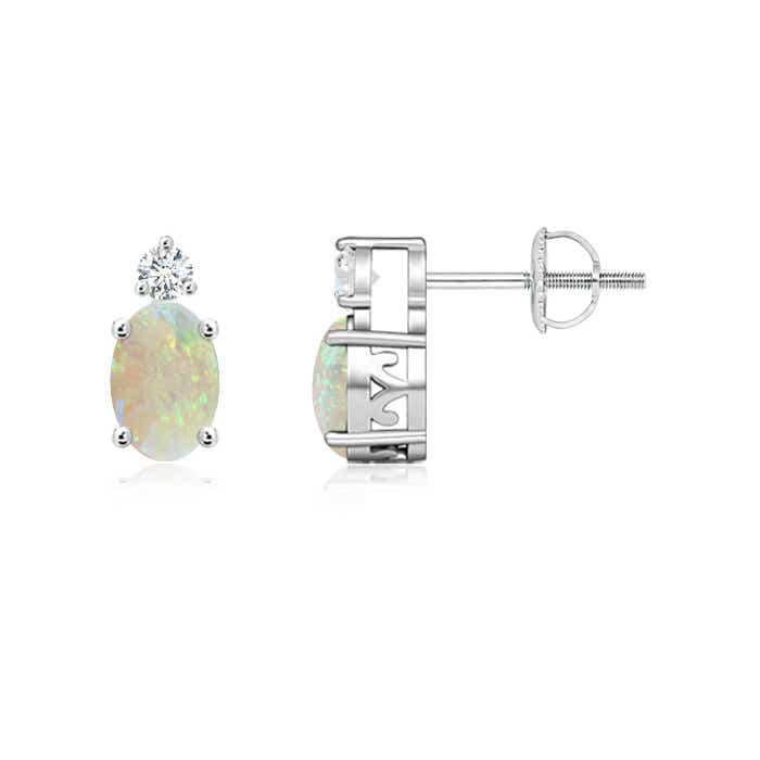 Angara Oval Opal Diamond Basket Stud Earrings in White Gold 2uimentp