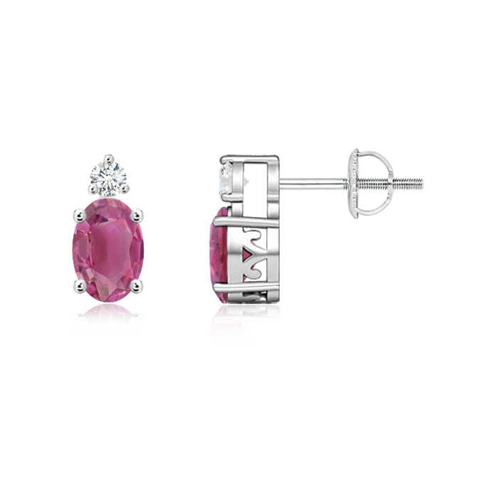Angara Basket-Set Pink Tourmaline Diamond Stud Earrings in Yellow Gold