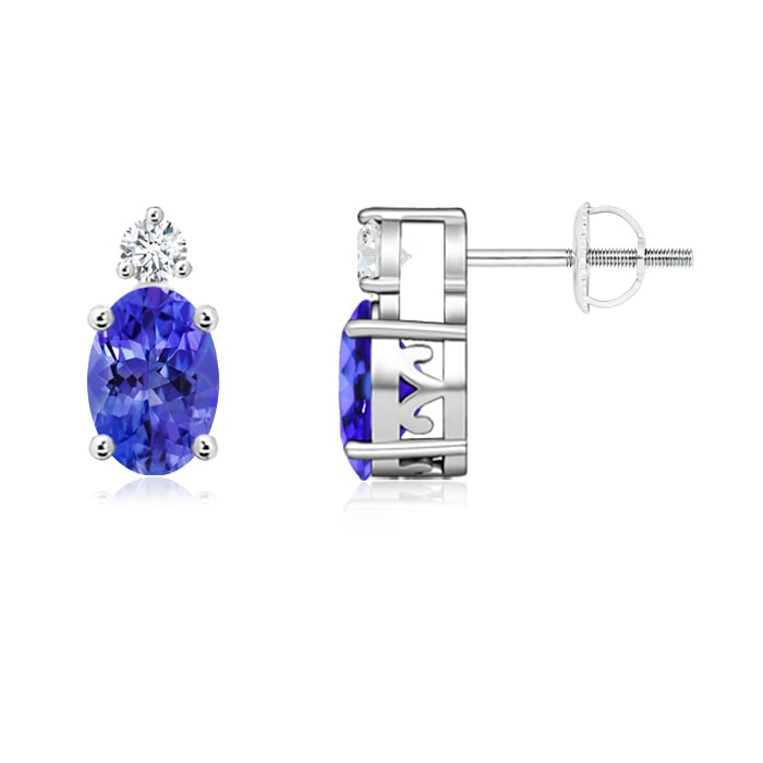 Angara Oval Tanzanite Basket Stud Earrings in 14k Yellow Gold d6vzp