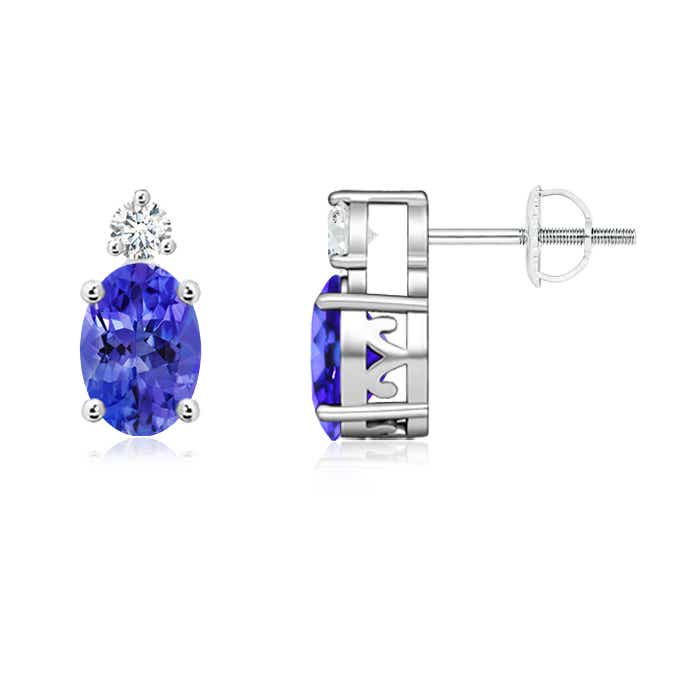 Angara Oval Tanzanite Basket Stud Earrings in 14k White Gold