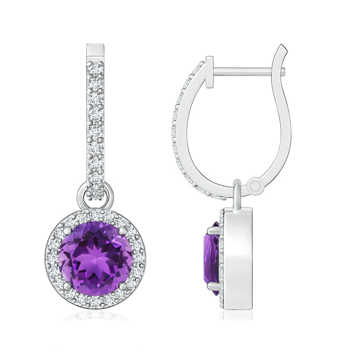 Angara Diamond Halo Amethyst Dangle Earrings in White Gold