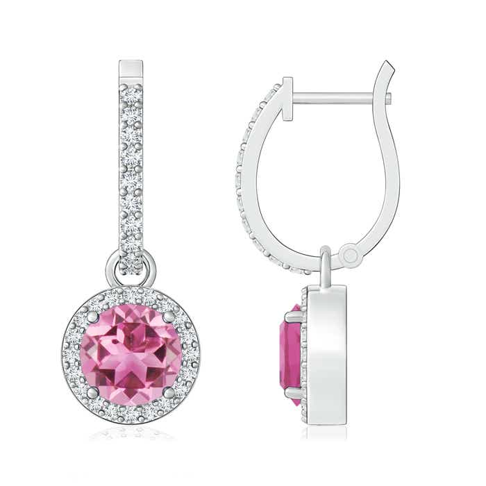 Angara Round Pink Tourmaline Diamond Halo Dangle Earrings in Platinum A9HRQY