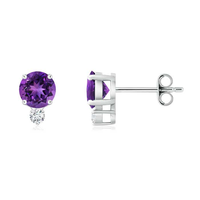 Angara Basket-Set Amethyst and Diamond Stud Earrings in Platinum rWmASlSO