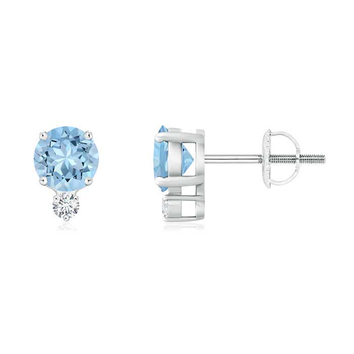 Angara Basket-Set Round Aquamarine Stud Earrings dUrmDzkwb