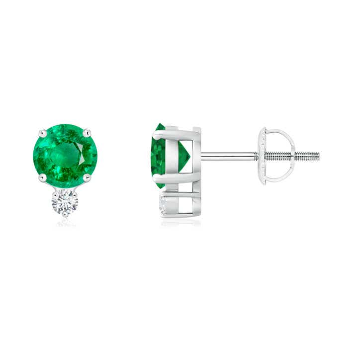 Angara Round Emerald Stud Earrings in 14k White Gold