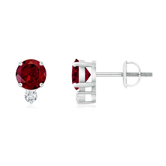 Angara Basket-Set Round Garnet Stud Earrings with Diamond in White Gold NFwj16QHh