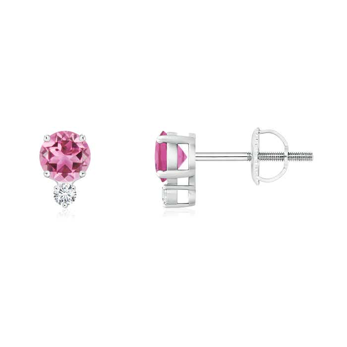 Angara Pink Tourmaline Stud Earrings with Bar-Set Diamond Halo