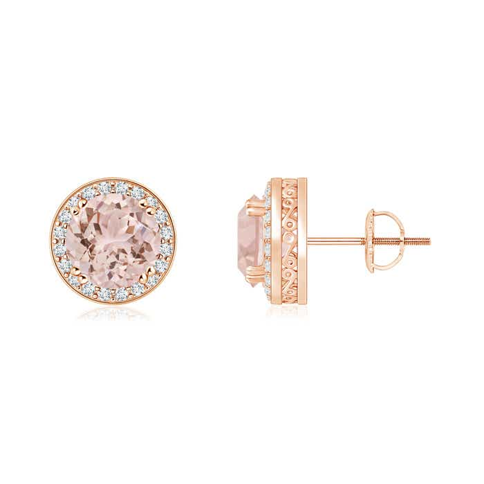 Angara Classic Morganite and Diamond Halo Stud Earrings