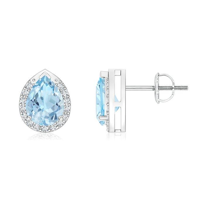 Angara Pear-Shaped Aquamarine Stud Earrings with Diamond Halo 6s1wjTRt