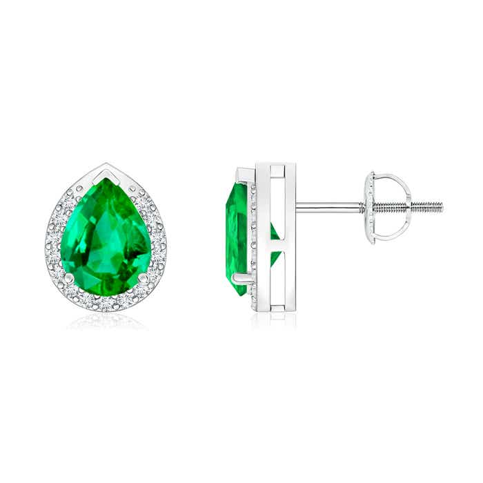 Angara Emerald Stud Earrings with Diamond Halo in Rose Gold