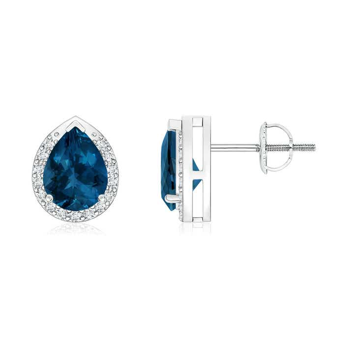 Angara Round London Blue Topaz Stud Earrings in Rose Gold
