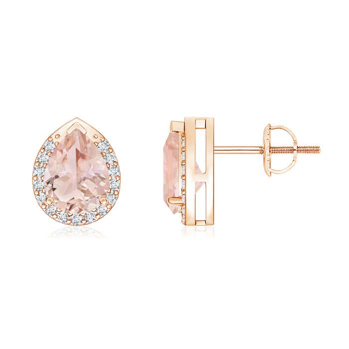 Angara Diamond and Morganite Stud Earrings in White Gold