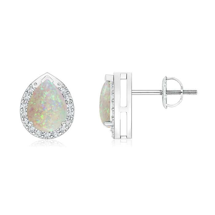 Angara Pear-Shaped Opal Stud Earrings with Diamond Halo lp9kqF2yO
