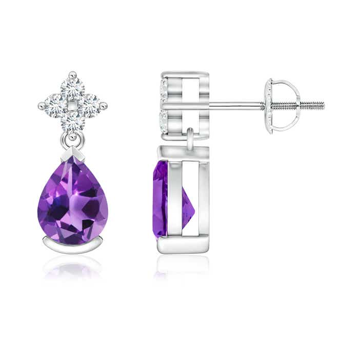 Angara Solitaire Pear Amethyst Drop Earrings with Diamonds