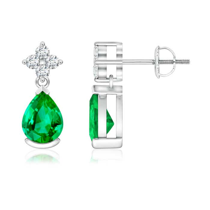 Angara Pear Shape Emerald Earrings with Diamond Flower in White Gold 3Yezh