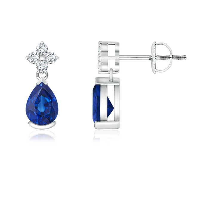 Angara Pear Blue Sapphire and Diamond Drop Earrings in Platinum 0hc8kf4M
