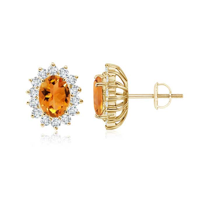Angara Oval Citrine Flower Stud Earrings with Diamond Halo in 14K White Gold lut0J