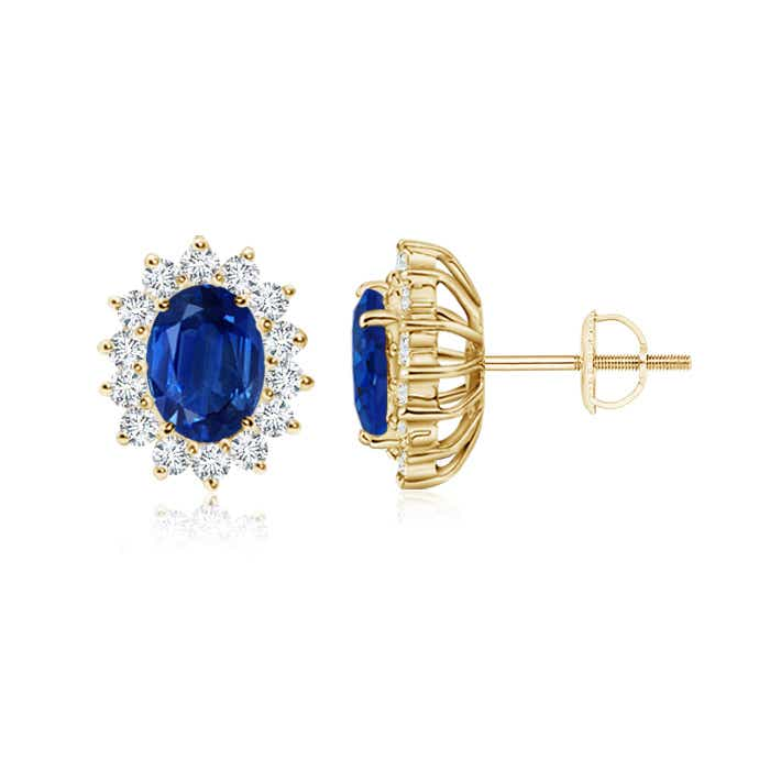 Angara Oval Sapphire Diamond Halo Vintage Studs in Yellow Gold Bh48CkB
