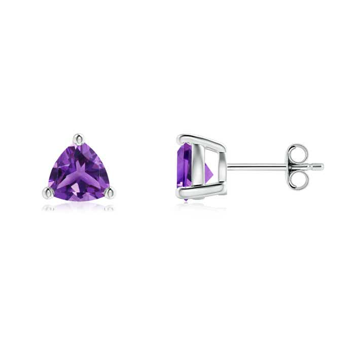 Angara Basket Amethyst Stud Earrings in White Gold
