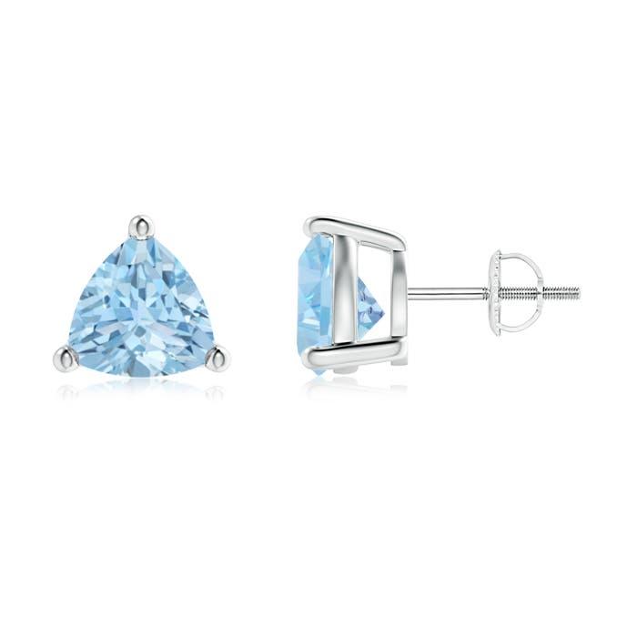 Angara Emerald-Cut Aquamarine Stud Earrings in White Gold J2CjYpDLki