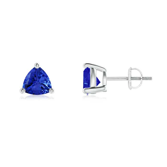 Angara Basket-Set Round Natural Blue Sapphire Stud Earrings in Platinum
