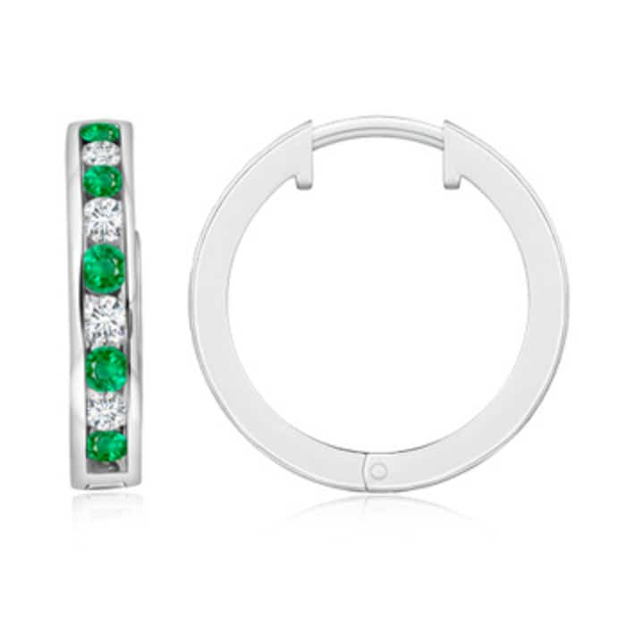 Angara Channel-Set Round Emerald Hinged Hoop Earrings in Platinum