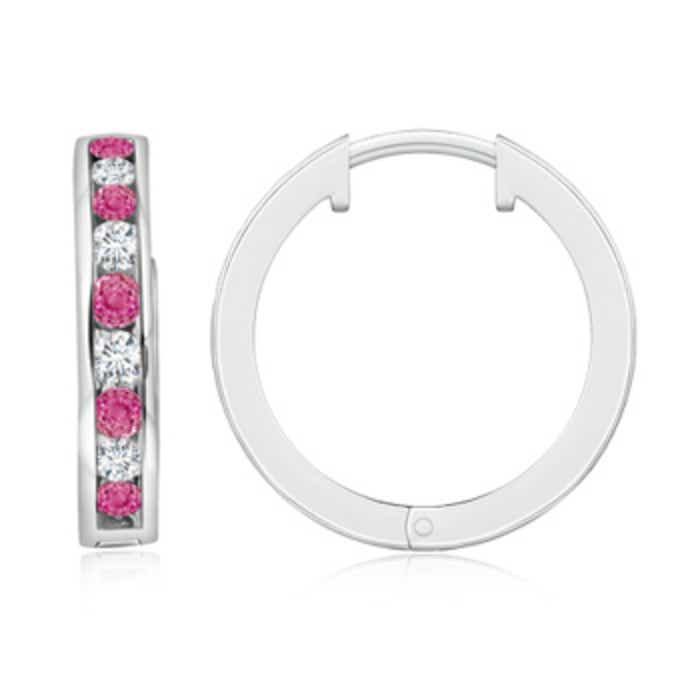 Angara Channel-Set Pink Sapphire Diamond Hinged Hoop Earrings in White Gold