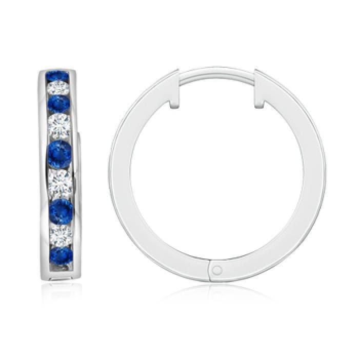 Angara Sapphire Diamond Hinged Hoop Earrings in Rose Gold 6wgrsPQO