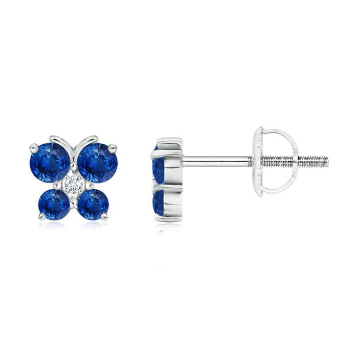 Angara 3-Prong Blue Sapphire Stud Earrings in Yellow Gold xgyVVz