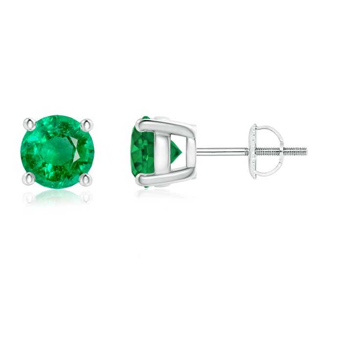 Angara Round Emerald Stud Earrings