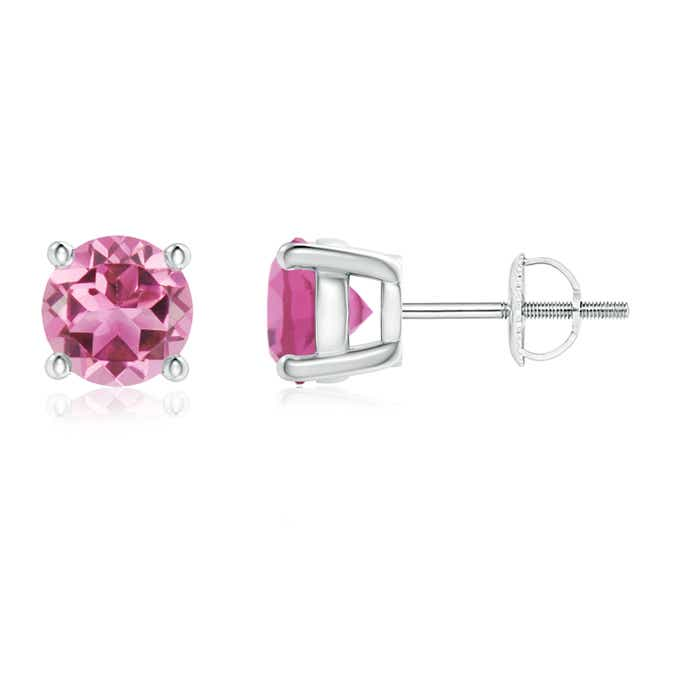 Angara 3 Prong Pink Tourmaline Stud Earrings in White Gold