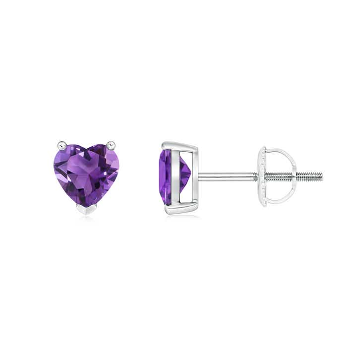Angara Amethyst Solitaire Heart Earrings in White Gold p7Z5p1j