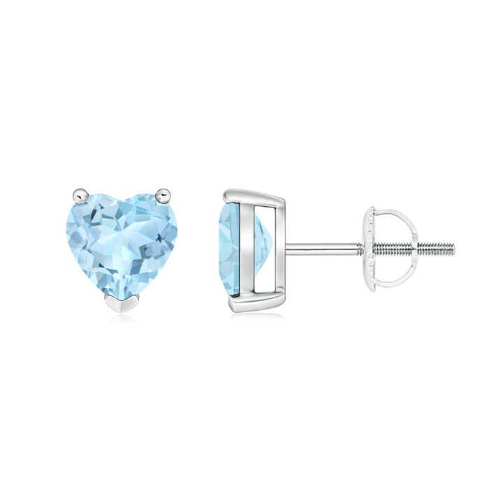 Angara Solitaire Aquamarine Heart Earrings in Yellow Gold RastrB1