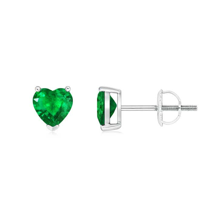 Angara Emerald Solitaire Heart Stud Earrings in Platinum HdmQG