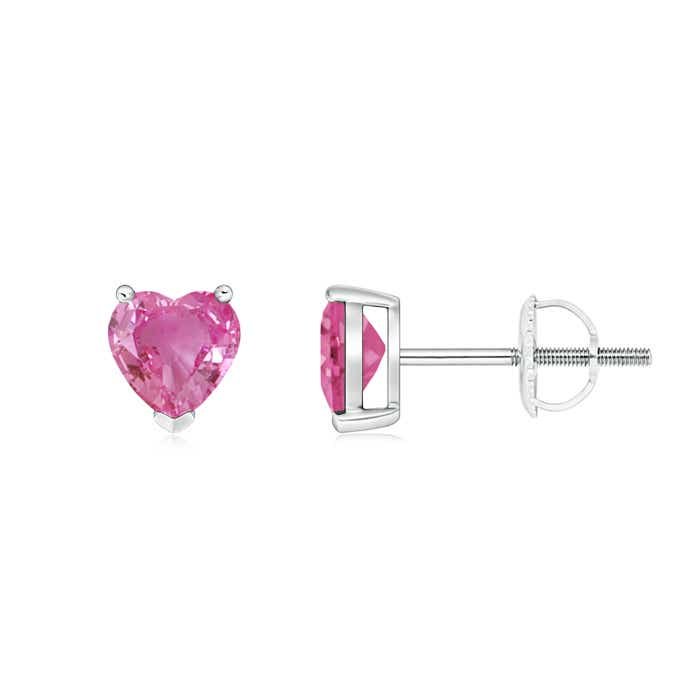Angara Heart Shaped Pink Sapphire Stud Earrings in Rose Gold 6eCvk