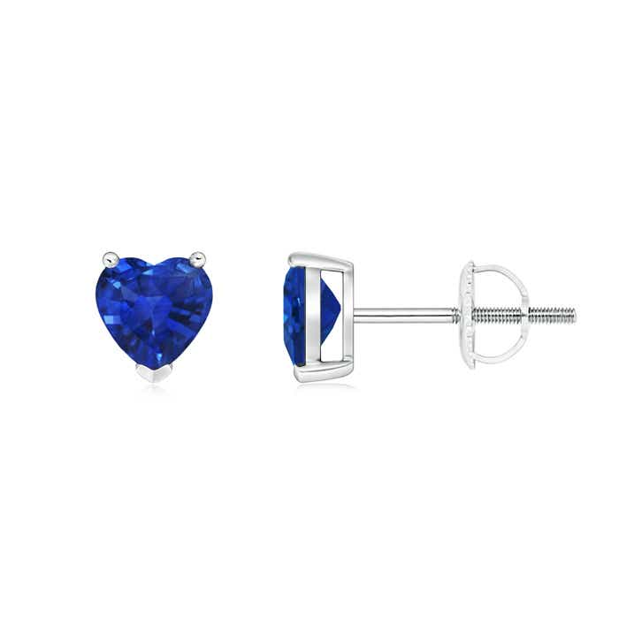Angara Solitaire Sapphire Open Heart Studs with Diamonds iSSigb2
