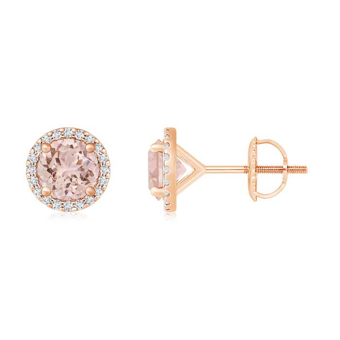 Angara Round Morganite Stud Earrings with Diamond Halo ILXOi