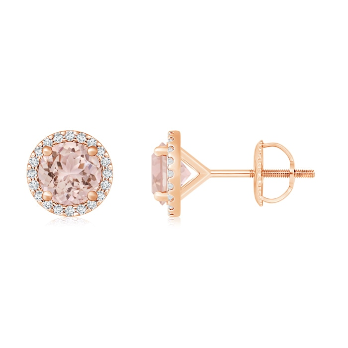 Angara Round Natural Morganite Stud Earrings in Platinum iaqzbITo