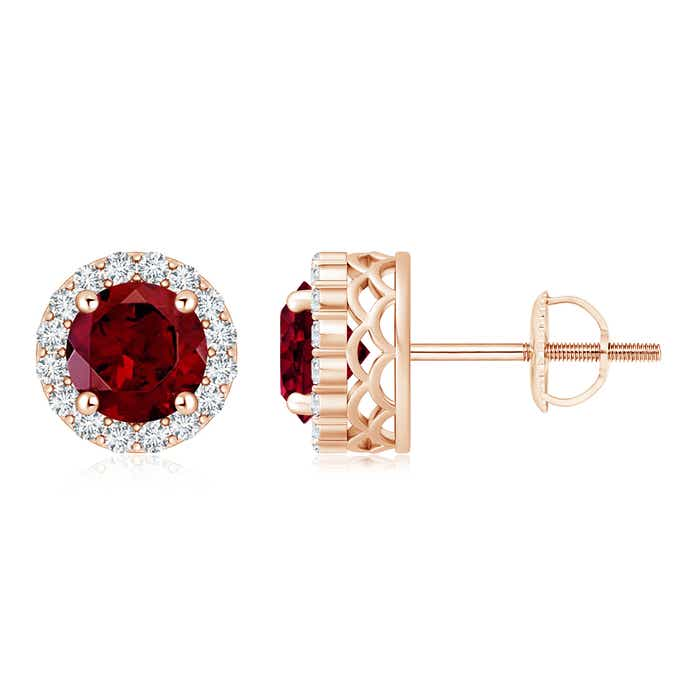 Angara Vintage Style Garnet Diamond Halo Stud Earrings in Rose Gold R2ave9z7y7