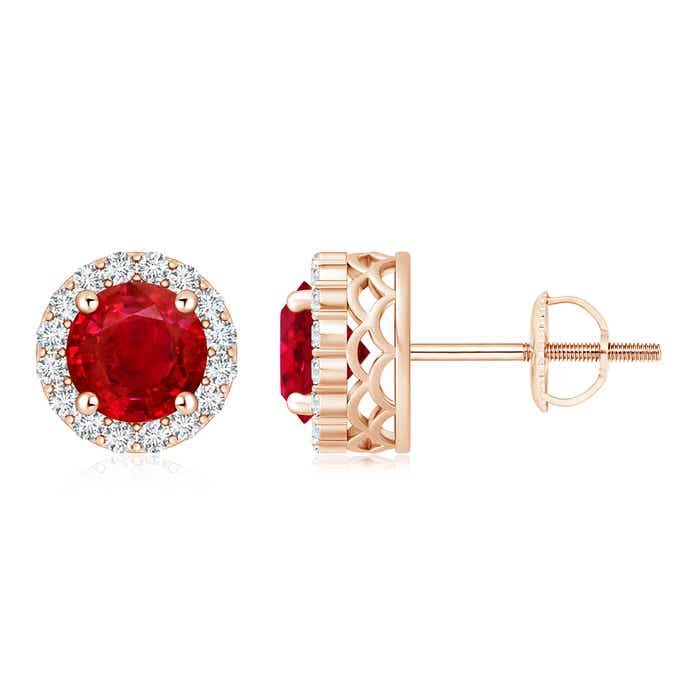 Angara Pear Ruby Flower Stud Earrings in Yellow Gold