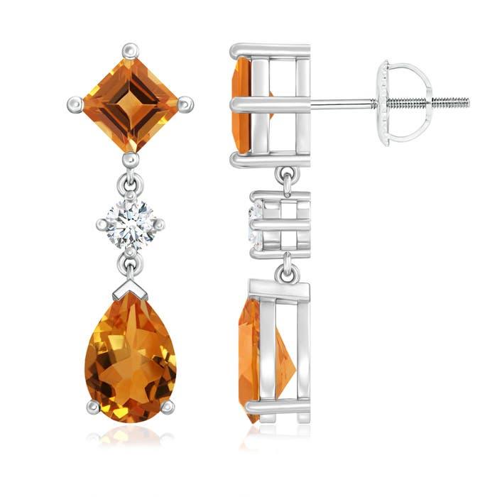 Angara Pear Citrine Halo Dangle Earrings with Diamond Cluster in Platinum jybkMUQ