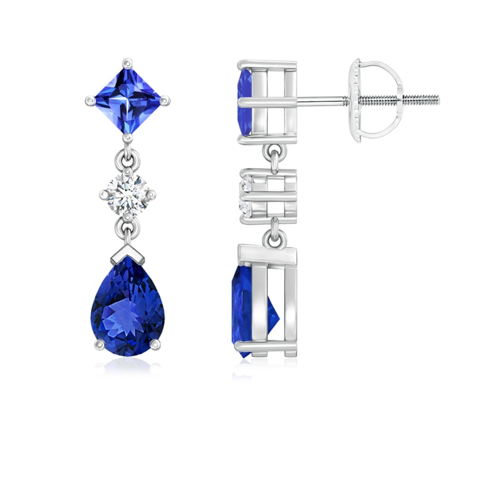 Angara Pear, Square Tanzanite and Diamond Drop Earrings in Platinum