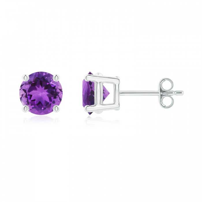 Angara Basket Amethyst Stud Earrings with Diamond in Platinum gj1YawIqzE