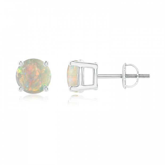 Angara Basket-Set Round Opal Stud Earrings with Diamond j1f4mTWiYP
